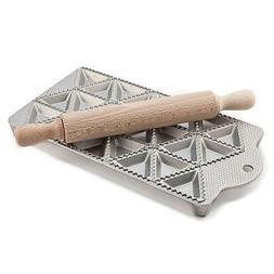 Cast Aluminium Ravioli Pasta Maker Tray Mould With Wooden Ro