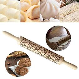 Christmas Wooden Rolling Pins,Creazy Engraved Embossing Roll