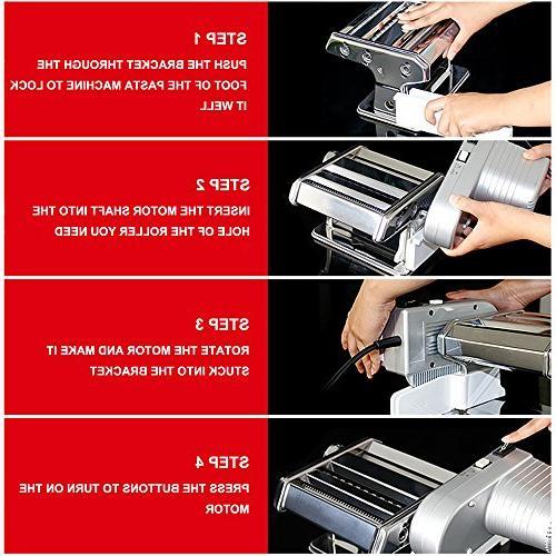 Yunko Electric Machine Set Stainless Machine Lasagne Fettuccine Tagliolini Silver