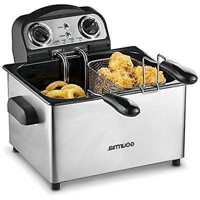 Gourmia GDF475 Fryer -Timer Temperature Control - Oil Tank 18 Cups - - Anti-Odor Filter Lid - - Recipe
