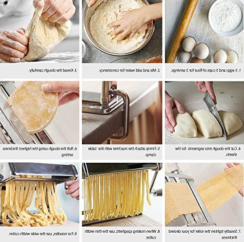 Pasta iSiLER 9 Adjustable Maker, 150 Roller Alloy Rollers and FDA Approved for Spaghetti, Fettuccini, Lasagna