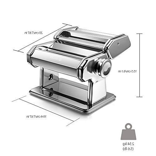 Pasta iSiLER Adjustable Thickness Settings Pasta Maker, Maker Washable Aluminum Alloy and Cutter, FDA Spaghetti, Fettuccini, Lasagna
