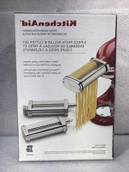 New! KitchenAid 3-Piece Pasta Roller & Cutter Stand Mixer At