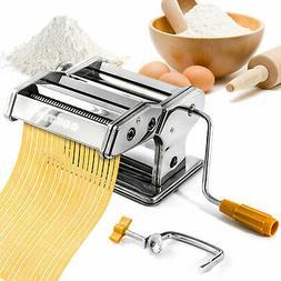Pasta Maker Machine - Stainless Steel Hand Crank Cutter & Ro